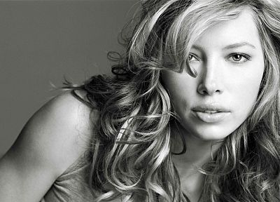 women, actress, Jessica Biel, grayscale - random desktop wallpaper