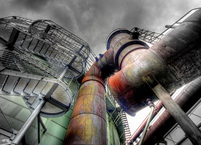 industrial plants, selective coloring - random desktop wallpaper