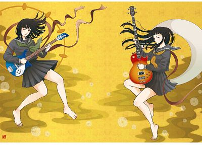 bass guitars, instruments, guitars, electric guitars, anime girls - desktop wallpaper