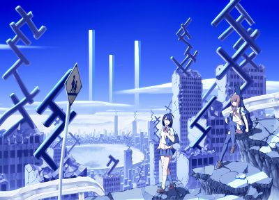 blue, cityscapes, buildings, anime - related desktop wallpaper