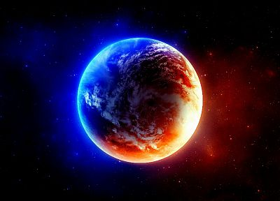 blue, outer space, red, planets, Earth - random desktop wallpaper