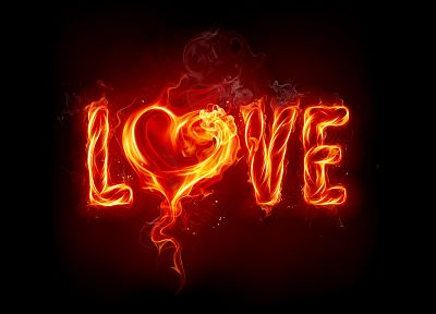 love, fire, Valentines Day, hearts, black background - random desktop wallpaper