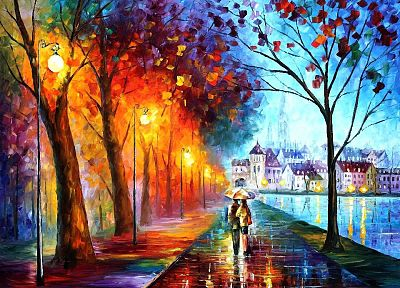 trees, cityscapes, rain, houses, couple, Leonid Afremov, artwork, parks, umbrellas, rivers - related desktop wallpaper