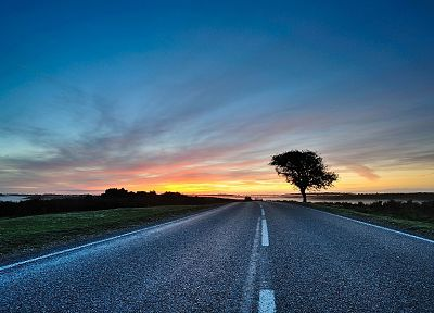 sunset, landscapes, roads - related desktop wallpaper