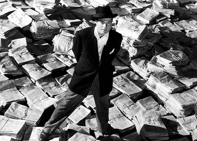 grayscale, monochrome, newspapers, Citizen Kane, Orson Welles, Charles Foster Kane - random desktop wallpaper