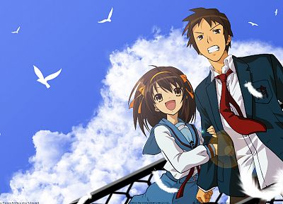 The Melancholy of Haruhi Suzumiya, Kyon, anime, Suzumiya Haruhi - related desktop wallpaper