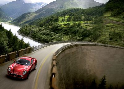 mountains, trees, cars, Alfa Romeo, roads, vehicles, Alfa Romeo 8C, Alfa Romeo 8C Competizione - desktop wallpaper