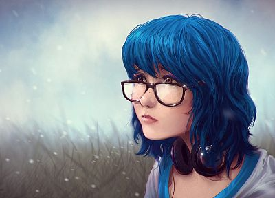 headphones, women, close-up, grass, lips, glasses, brown eyes, blue hair, short hair, meganekko, faces - random desktop wallpaper