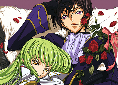 flowers, Code Geass, beds, couple, green hair, Lamperouge Lelouch, C.C., anime, flower petals, roses - related desktop wallpaper