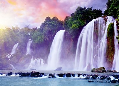 landscapes, digital art, waterfalls - related desktop wallpaper