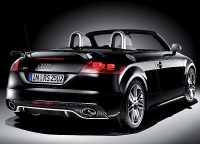 cars, Audi, black cars, German cars, rear angle view - random desktop wallpaper