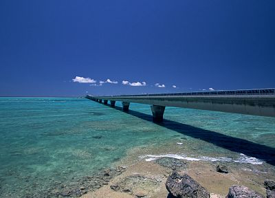 water, skylines, rocks, bridges, okinawa, blue skies, sea, beaches - desktop wallpaper