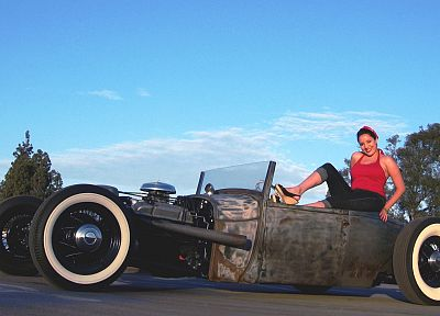 women, cars, pinups, Rat Rod - desktop wallpaper