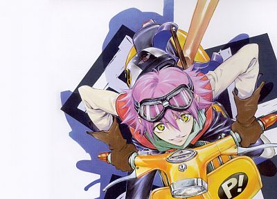 pants, gloves, FLCL Fooly Cooly, shadows, vespa, goggles, pink hair, short hair, yellow eyes, instruments, guitars, Haruhara Haruko, smiling, helmets, simple background, white background, bangs - random desktop wallpaper