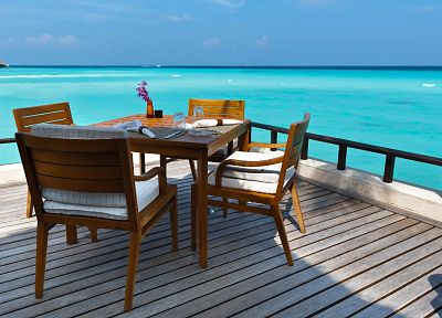 tables, chairs, wood floor, sea - related desktop wallpaper