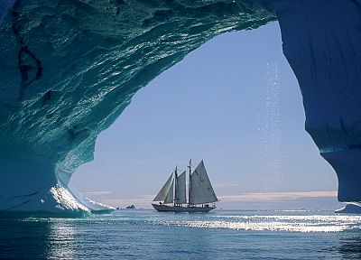 icebergs, sailboats, Greenland, sea - related desktop wallpaper
