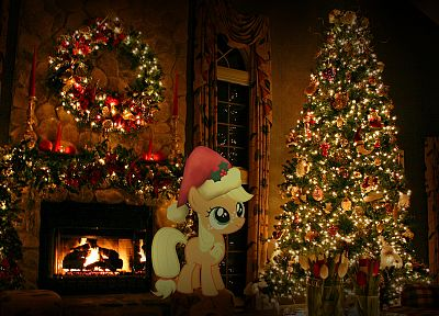 Christmas trees, My Little Pony, Applejack - random desktop wallpaper