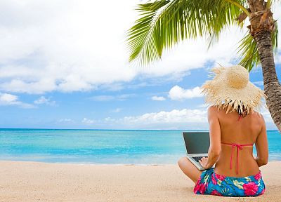 women, computers, hats, beaches - random desktop wallpaper