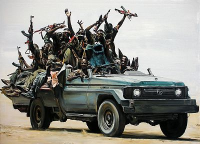pirates, Toyota, Somalia, Cookie Monster, vehicles, African, AK-47 - random desktop wallpaper