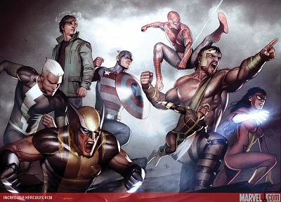 Spider-Man, Captain America, Wolverine, Hercules, Marvel Comics, Spider-woman, Adi Granov - random desktop wallpaper