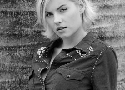 women, Elisha Cuthbert, actress, grayscale, monochrome - desktop wallpaper