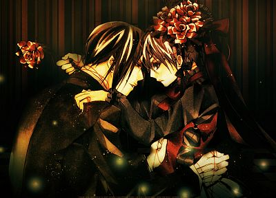brunettes, flowers, suit, ribbons, Kuroshitsuji, Ciel Phantomhive, Sebastian Michaelis, anime, anime boys - related desktop wallpaper