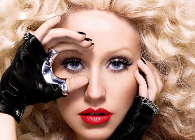 blondes, women, blue eyes, celebrity, Christina Aguilera - random desktop wallpaper