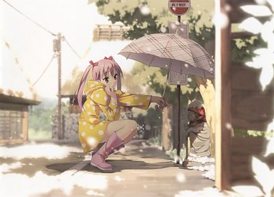 twintails, statues, umbrellas, anime girls, Kantoku (artist), Miyaguchi Kanna, original characters - related desktop wallpaper