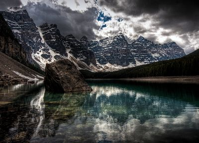 water, mountains, nature, winter, snow, lakes, HDR photography - desktop wallpaper