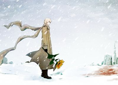 snow, blood, Russia, outdoors, anime, scarfs, Axis Powers Hetalia, sunflowers - random desktop wallpaper