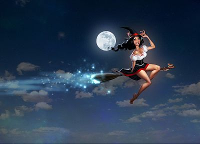 brunettes, women, Moon, fantasy art - desktop wallpaper