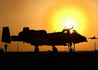 sunset, aircraft, military, planes, vehicles, A-10 Thunderbolt II - desktop wallpaper
