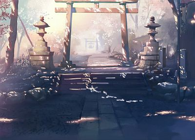 landscapes, Makoto Shinkai, gate, 5 Centimeters Per Second, torii - related desktop wallpaper
