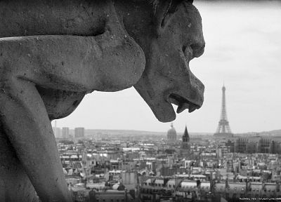 Paris, grayscale, gargoyle, monochrome, city skyline - desktop wallpaper
