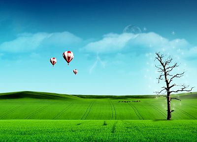 green, trees, fields, digital art, hot air balloons, skies - related desktop wallpaper