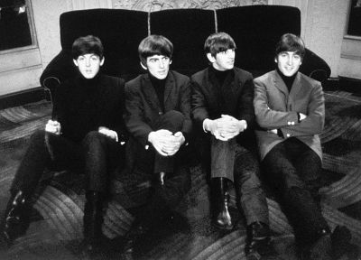 The Beatles, John Lennon, George Harrison, Ringo Starr, monochrome, Paul McCartney, greyscale - random desktop wallpaper