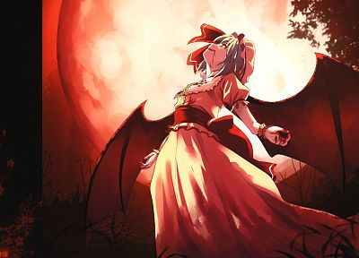 Touhou, wings, blood, vampires, Full Moon, Remilia Scarlet, anime girls - random desktop wallpaper
