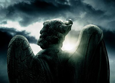 angels, clouds, sunlight, statues, movie posters, Angels and Demons - related desktop wallpaper