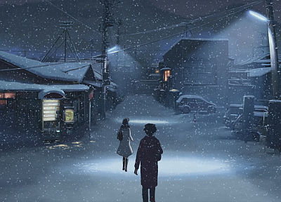 winter, Makoto Shinkai, scenic, 5 Centimeters Per Second, artwork, anime, snowing - desktop wallpaper