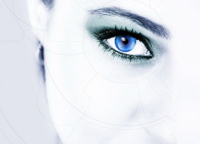 women, close-up, eyes, white, blue eyes - random desktop wallpaper