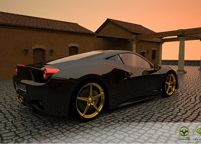 3D view, cars, Nvidia, black cars, Nvidia Design Garage - random desktop wallpaper