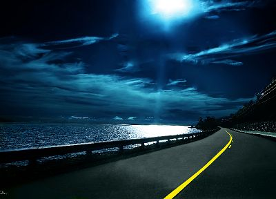 ocean, landscapes, night, moonlight, roads - related desktop wallpaper