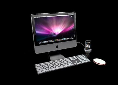 Apple Inc., Mac, iPhone, black background - desktop wallpaper