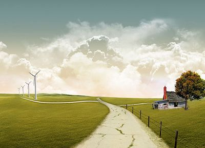 landscapes, nature, trees, houses, digital art, wind generators, skyscapes - desktop wallpaper
