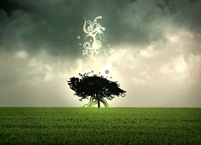 abstract, trees, grass, sacred, skyscapes, photo manipulation - duplicate desktop wallpaper