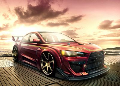 cars, Mitsubishi, artwork, vehicles, Mitsubishi Lancer Evolution X - related desktop wallpaper