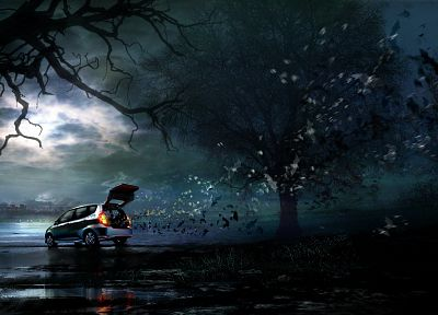 trees, night, Honda, cars, advertisement, artwork, vehicles, bats, Daniel Dociu - random desktop wallpaper