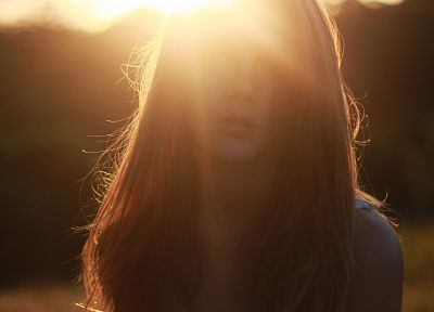 women, long hair, sunlight, sun flare - random desktop wallpaper