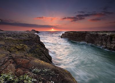 sunset, ocean, landscapes, nature, rocks, rivers, skyscapes, sea - related desktop wallpaper