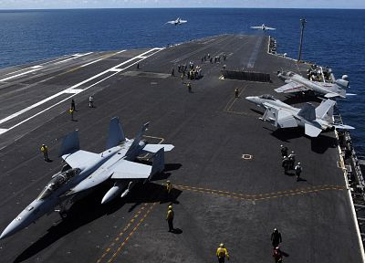 military, airplanes, US Navy, planes, aircraft carriers, F-18 Hornet - related desktop wallpaper